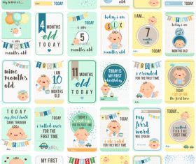 Different style baby cards vector