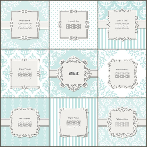 Different styles and shapes frames and backgrounds vector