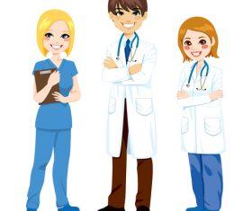 Doctor and nurse cartoon character vector
