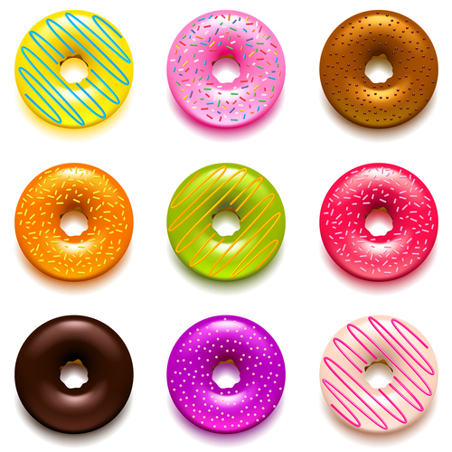 Donuts icons realistic vector