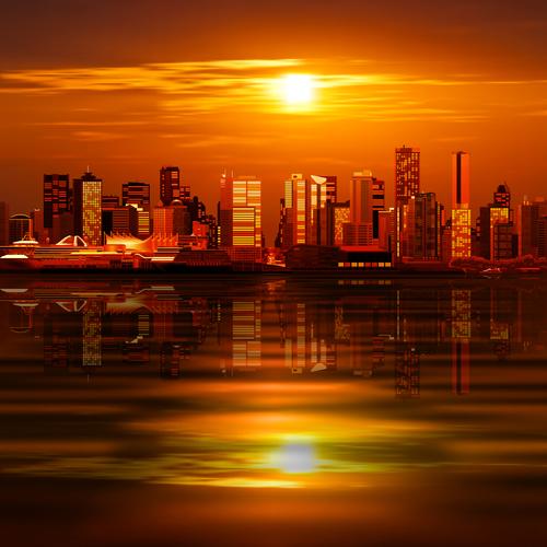 Dusk city landscape vector