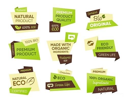 Eco food tags set vector