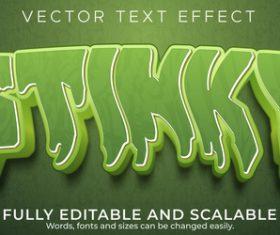 Editable green font 3d vector
