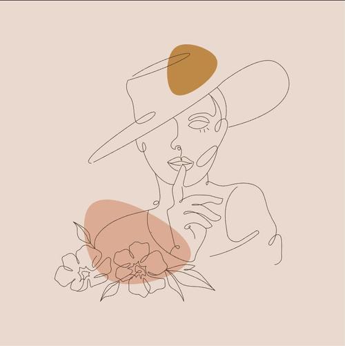 Elegant female line sketch vector