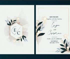 Elegant wedding invitation card design vector