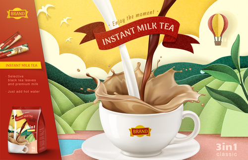 Enjoy the moment instant coffee flyer vector