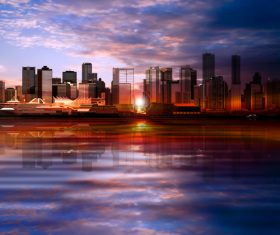 Evening background with panorama of city vector