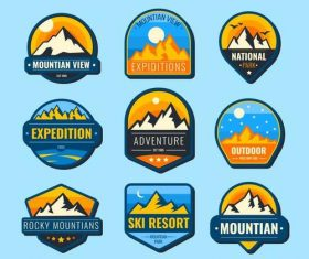 Expedition adventure symbols vector set
