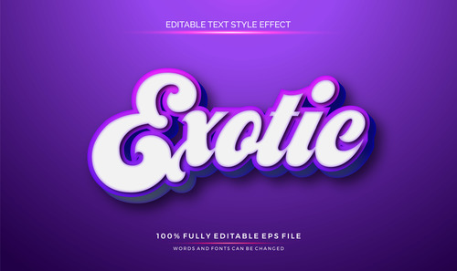 Exqtie editable font 3d vector