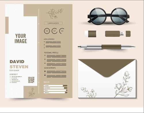Exquisite resume template vector