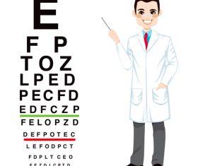 Eyesight chart cartoon illustration vector