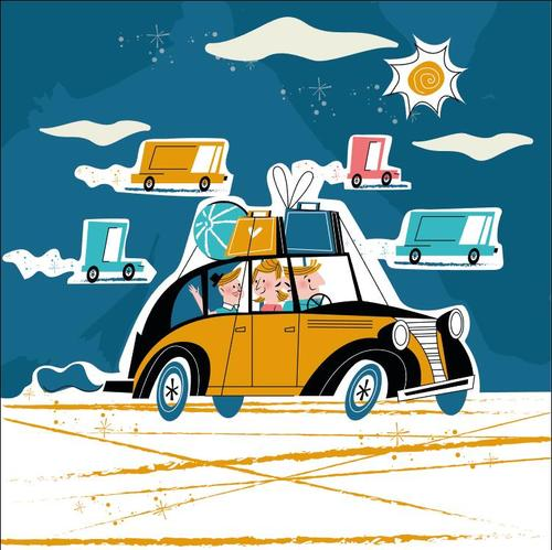 Family driving to travel vector