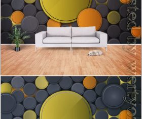 Fashion stereo geometric TV background wall vector illustration