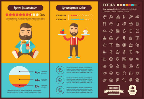 Fast food infographic elements vector