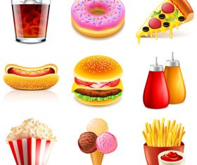 Fastfood icons realistic vector