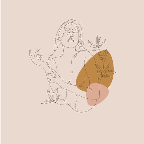 Female line sketch vector