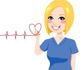 Female nurse drawing heartbeat cartoon character vector