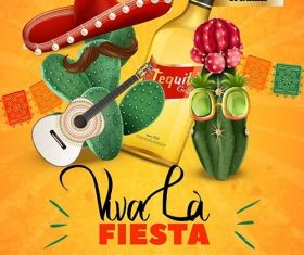 Fiesta party poster template with mexican sombrero vector