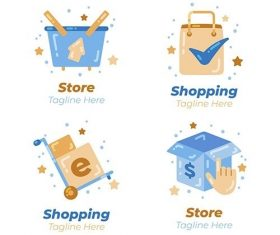 Flat design e-commerce logos vector