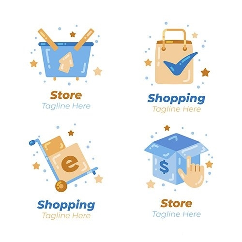 Flat design e commerce logos vector