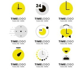 Flat design time logos vector