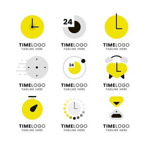 Flat design time logos vector