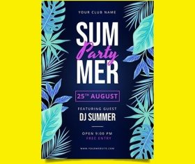 Flat summer party vertical poster template vector