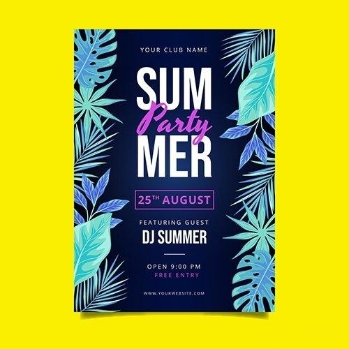 Flat summer party vertical poster template vector