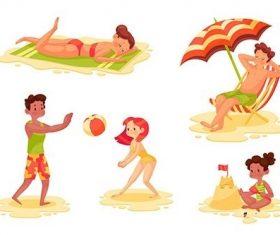 Flat summer scenes vector