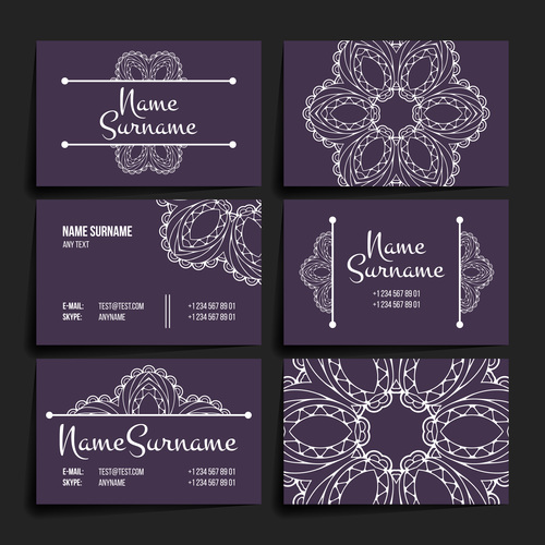 Floral pattern company business card vector