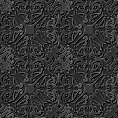 Floral pattern seamless ornament black background vector