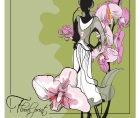 Floral print fashion style illustration vector