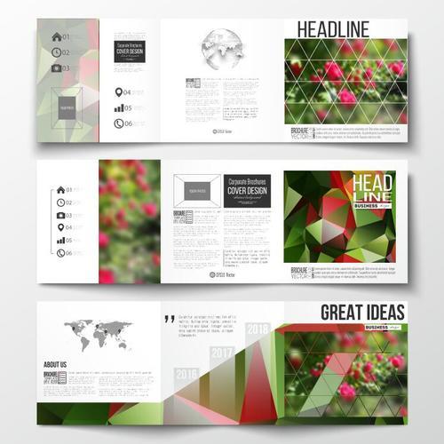 Flower background business brochure template vector