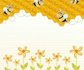 Flower beehive and bee background vector