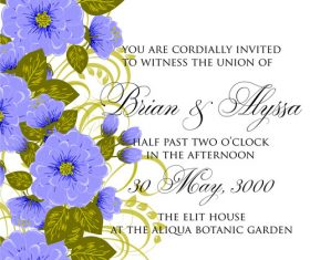Flower decoration wedding invitation card vector