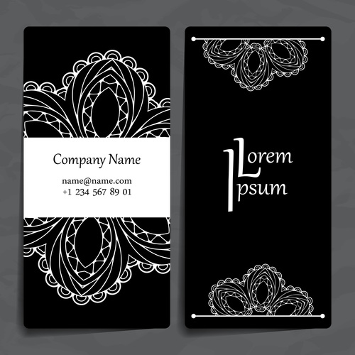 Flower silhouette pattern company business card vector