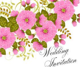 Flower watercolor background wedding invitation card vector