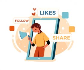 Follow likes share cartoon illustration vector
