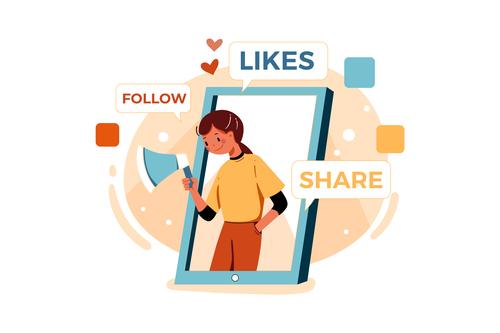 Follow likes share cartoon illustration vector