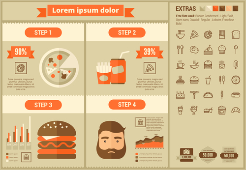 Food infographic elements vector