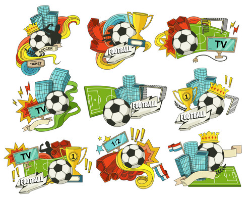 Football backgrounds and elements in vector