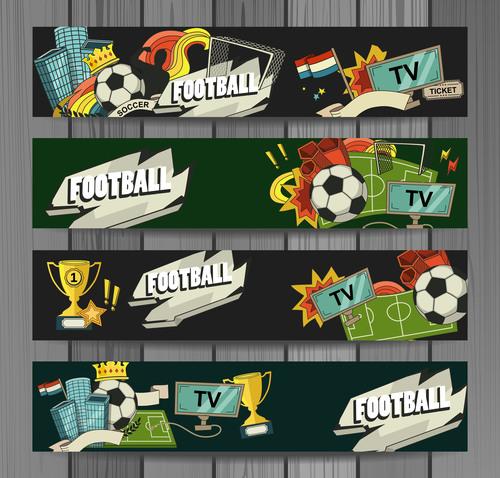 Football cartoon illustration banner vector
