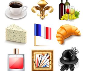 France icons realistic vector