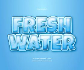 Fresh water 3d font editable text style effect vector