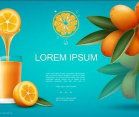 Freshly squeezed orange juice flyer vector