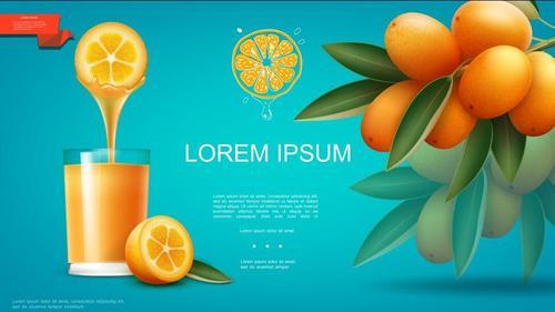 Freshly squeezed orange juice flyer vector