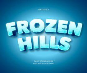 Frozen hills 3d font editable text style effect vector