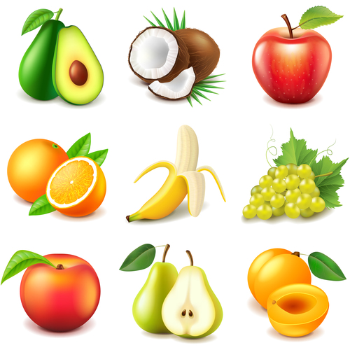 Fruits icons realistic vector