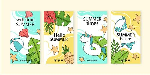 Funny summer time instagram stories vector