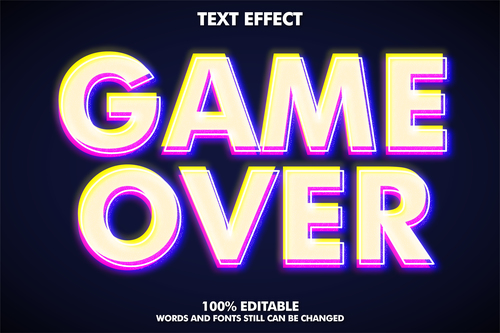 GAME OVER 3d editable text style effect vector